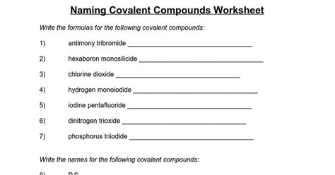 naming covalent compounds worksheet google docs