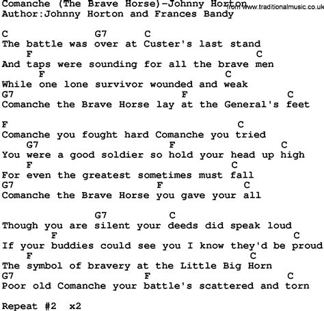 printable brave lyrics country music comanche the brave horse johnny horton
