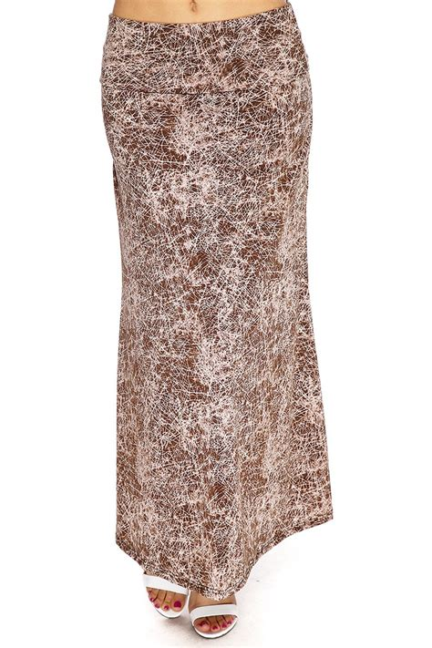 brown patterned maxi skirt brown printed pattern casual maxi spring skirt