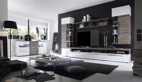 Wohnzimmereinrichtungen Modern by Wohnwand Mit Sideboard Weiss Hochglanz Sonoma Eiche