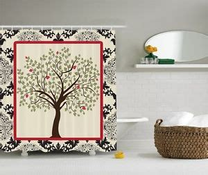 black and ivory shower curtain black ivory red damask tree of life fabric shower curtain