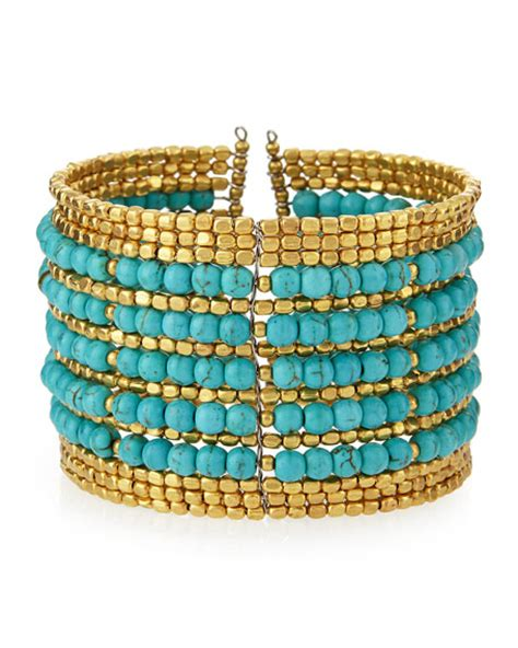 nakamol beaded wire cuff bracelet turquoise