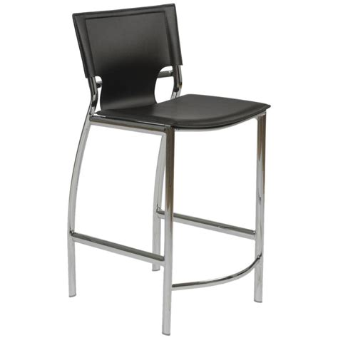 Bar Stool Black Chrome by Vinnie Leather Counter Stool Black Chrome Bar Stools
