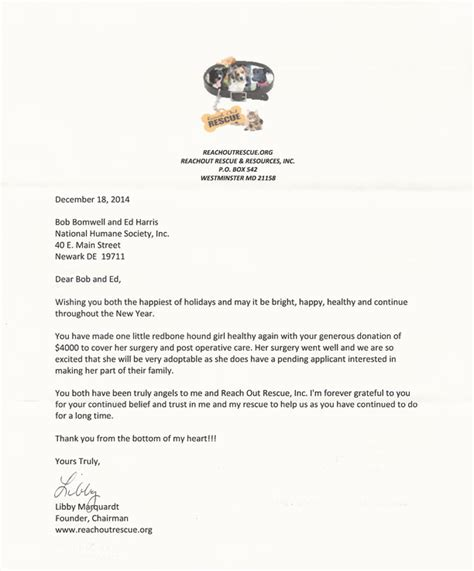 Thank You Letter Veterinary National Humane Society