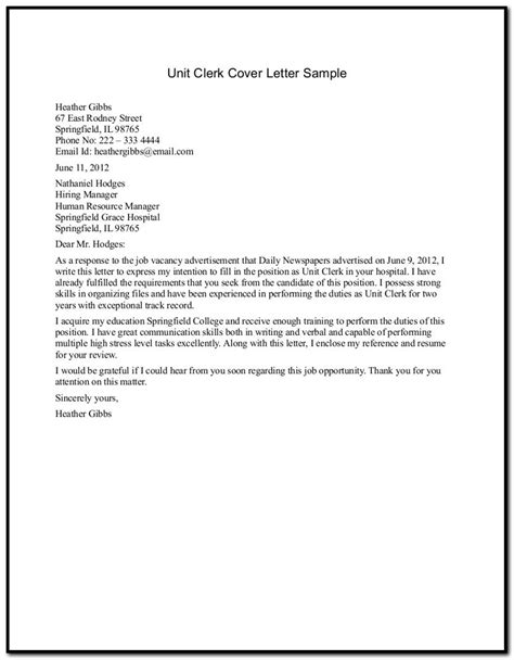 cover letter for office sle cover letter for resume office clerk cover letter