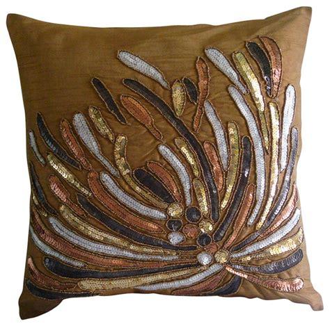decorative bed pillows cracker decorative gold silk throw pillow cover 26x26
