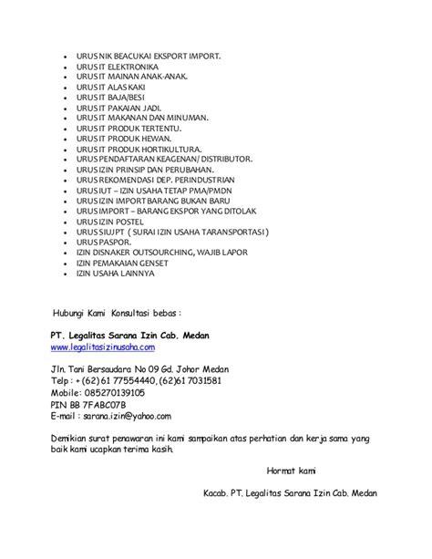 surat penawaran pengurusan izin usaha pendirian pt cv