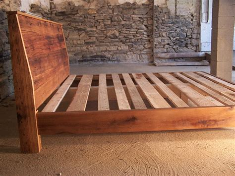 Recycled Wood Bed Frames Modern Style Bed Frame With Slanted Headboard From Reclaimed