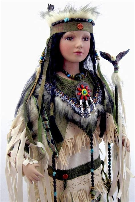 porcelain doll american indian collectible porcelain indian american doll