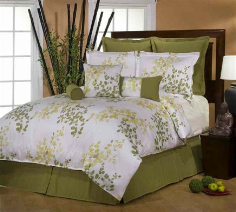 leaf comforter 3pc green white leaf 300tc cotton sateen comforter set