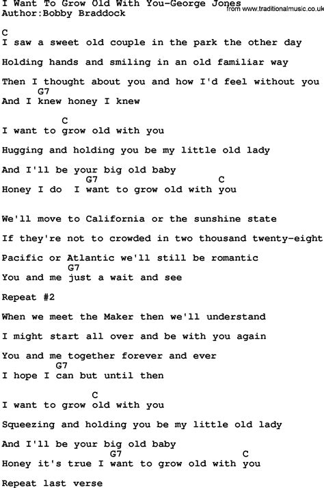 tutorial guitar chords grow old with you country music i want to grow old with you george jones