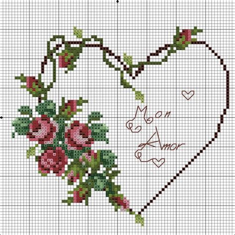 heart vine pattern cross stitch roses vine heart no color chart available