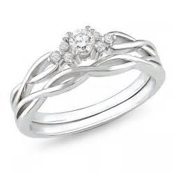 Infinity Wedding Set Affordable Infinity Wedding Ring Set In 10k White