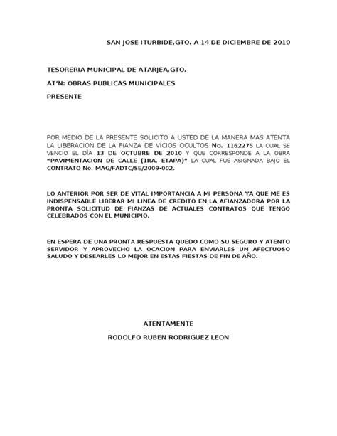 formato carta de cancelacion telmex oficio cancelacion de fianzas atarjea