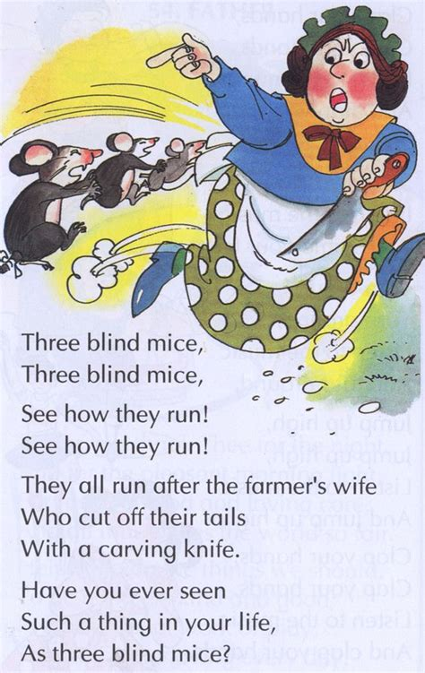 What Rhymes With Blind three blind mice mice and nursery rhymes on