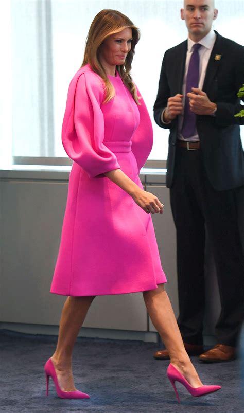 President Trump by Melania Trump Wears Pink Delpozo Dress For Un Speech