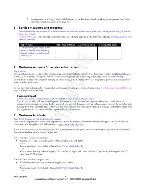 sla reporting template 28 images sla performance plan