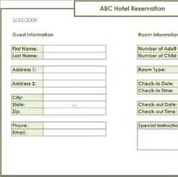 free data collection templates on excel hotel reservation