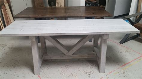 distressed gray dining table custom distressed grey trestle farmhouse table reclaimed