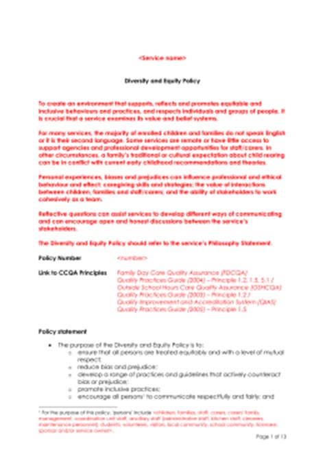 diversity policy template sle hygiene and infection policy template