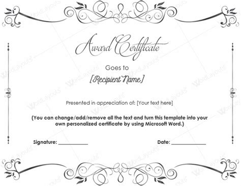 blank award certificate templates word document templates february 2016