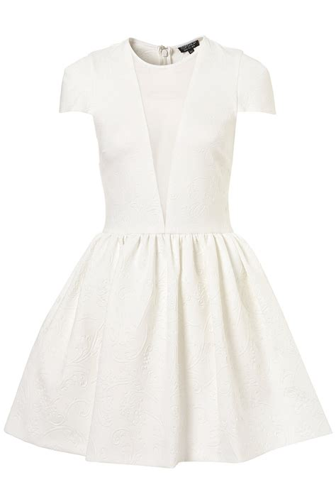 Emboss Dress Bodycon By Topshop lyst topshop embossed scuba skater dress in white
