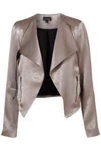 Drape Vest Topshop Metallic Drape Biker Jacket In Metallic Lyst