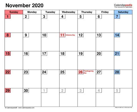 november  calendar templates  word excel