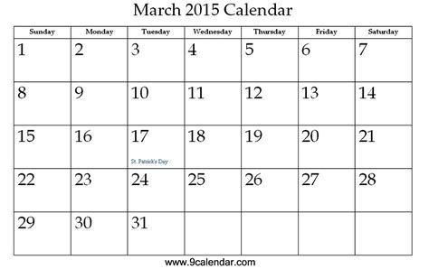 Calendar For March 2015 Pin March 2015 On