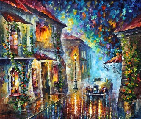 imagenes gratis canvas the streets at night palette knife oil painting on