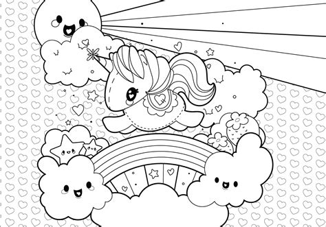 unicorn with rainbow coloring page rainbow unicorn scene coloring page download free vector