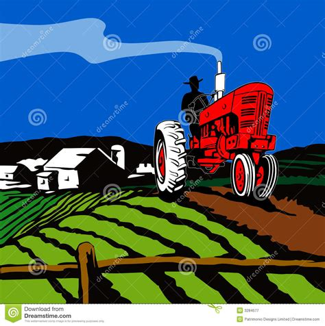 tractor plowing  farm stock vector illustration