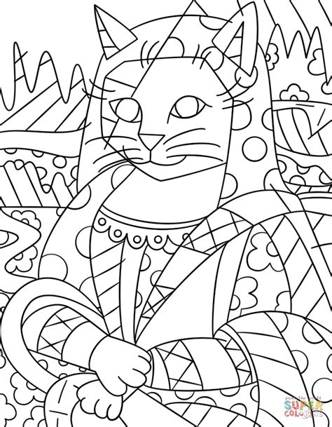 mona cat mona cat by romero britto coloring page free printable