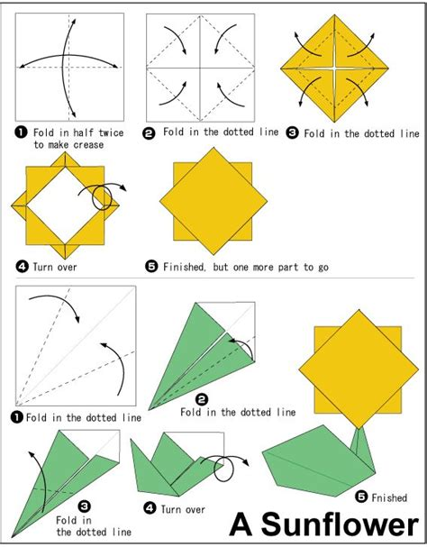 Origami Sunflower - sunflower origami easy to do crafts