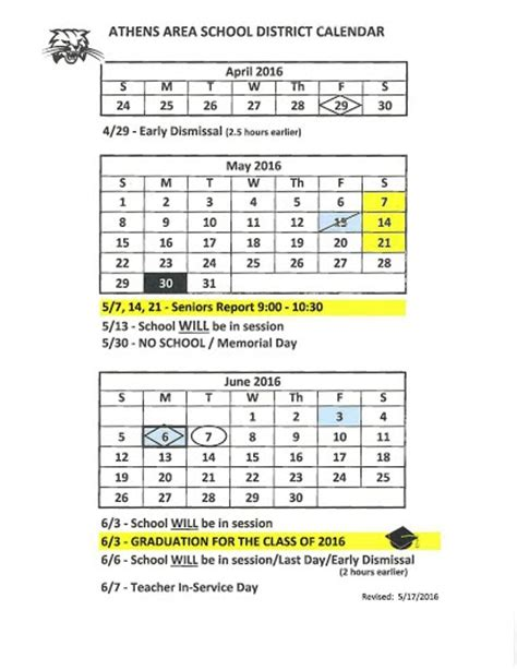 Aasd Calendar Athens Area School District