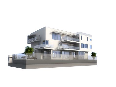 Balcony Garden 3d model luxury contemporary house with pool 3d model