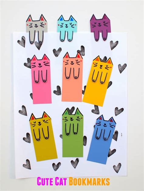 cat paper pattern and marks distribution cute cat diy bookmarks from paint chips diycandy com