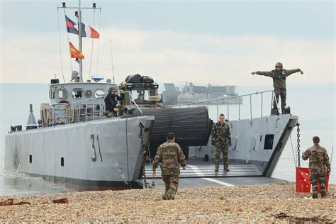 boat launch in french uk and french forces launch exercise griffin strike in the