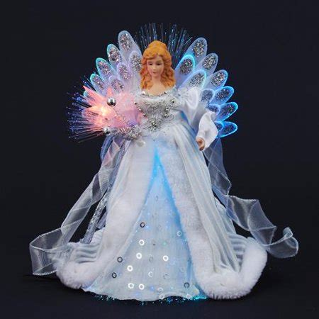 blue angel tree topper 12 quot silver and white led light fiber optic tree topper walmart