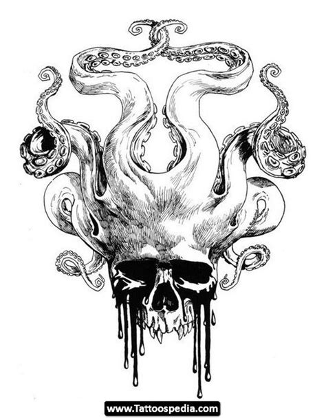 skull octopus tattoo skull octopus drawing tattoos