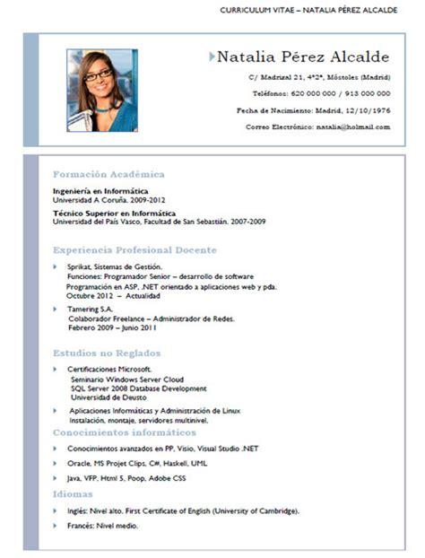 Plantilla De Curriculum En Ingles ejemplos y plantillas de curriculum en ingl 233 s trabajar en