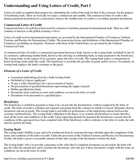 Letter Of Credit Clause In A Contract Letter Of Credit Pdf Credit Letter Template For Excel Pdf And Wordlesson 35 Flow Chart Of