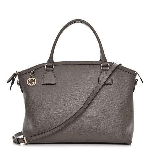 gucci dollar calfskin large gg charm dome satchel tote grey 228253
