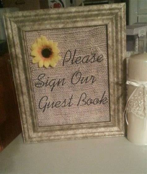 burlap wedding vintage sunflower decor (sign our guestbook