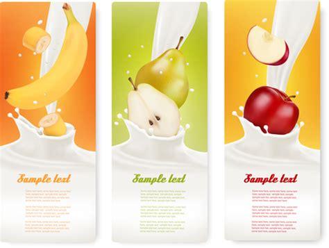 fruit milk fruit milk advertising banner vector graphics 03 vector