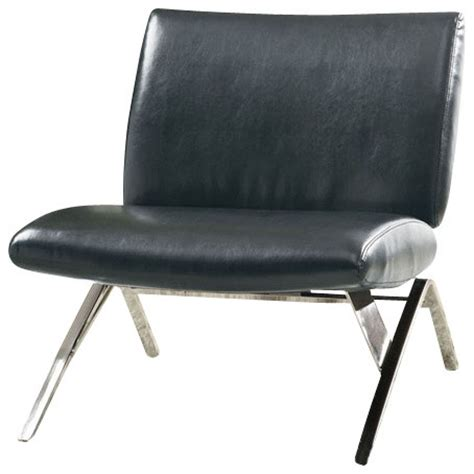 black leather look chrome metal modern accent chair black leather look chrome metal modern accent chair