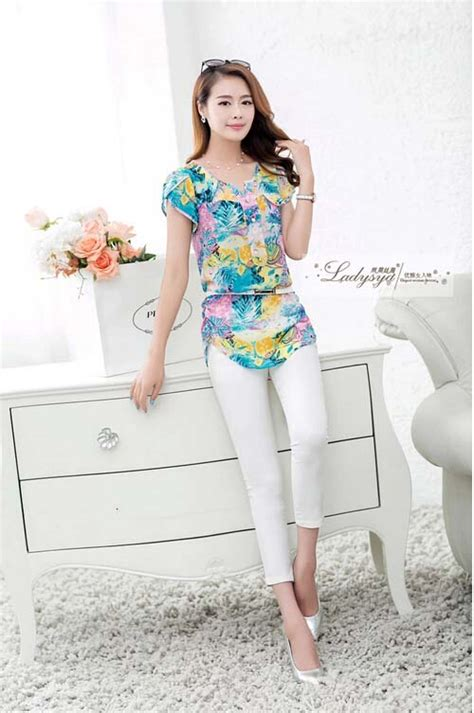 Blouse Belt Sifon Motif Pjg blus wanita motif cantik terkini model terbaru jual