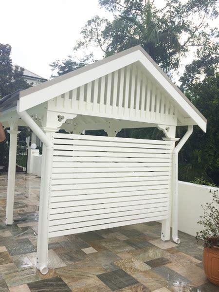 timber white cabana  gable roof pine cabana taringa brisbane bespoke gable cabanas