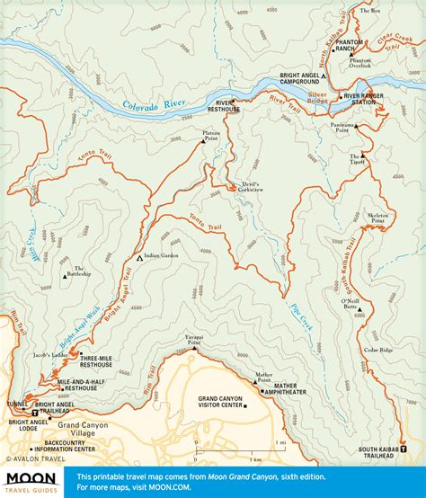 grand map south kaibab trail travel map of bright and south kaibab trails in the