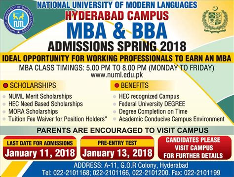 Mba Open In Hyderabad by Admission Open In National Of Modern Language